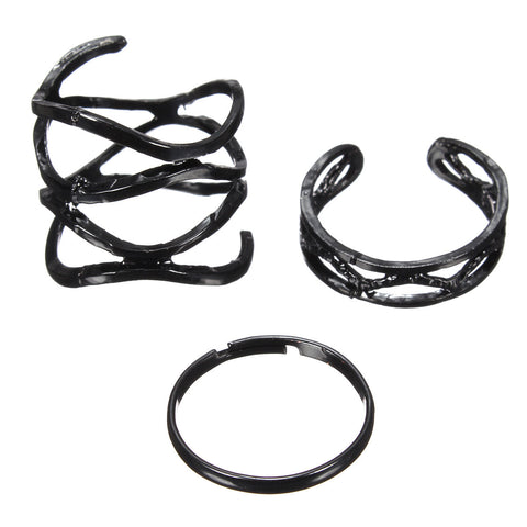 3Pcs Punk Matte Black Hollow Rings