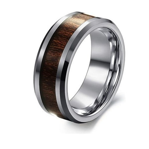 Men Rosewood Tungsten Steel Carbon Fiber Wide Finger Ring