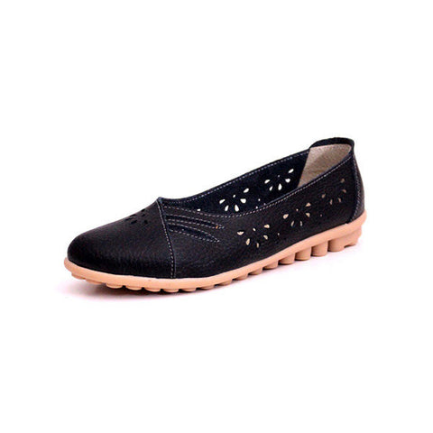 Leather Hollow Out Strappy Breathable Soft Slip On Flat Loafers