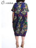 O-Newe Plus Size Vintage Floral Printed Pocket Dress For Women