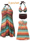 Sexy Bohemian Style Three Pieces Swimwear Halter Swimsuit For Women