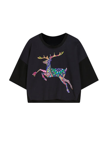 Women Half Sleeve O Neck Deer Printed Short T-shirt