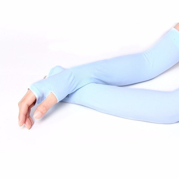 Unisex Ice Cool Silk Sunscreen Over-sleeve Arm-warmers Long Gloves Arm Sleeve UV Protection