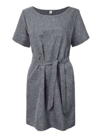 Brief Women Belt Solid Short Sleeve Knee-Length Straight Loose Linen Dress