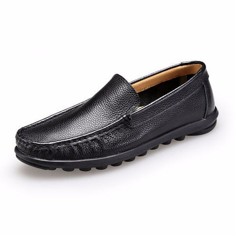 Big Size Men Leather Pure Color Slip On Businss Formal Driving Shoes