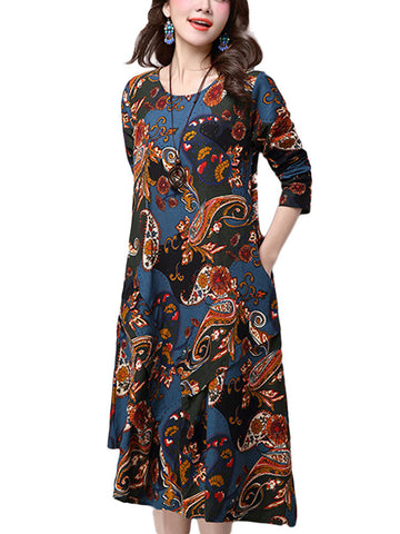 Vintage Women Floral Printed Patchwork Long Sleeve Loose Cotton Linen Mid-Calf Dress