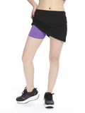 Women Stretched Pretend Two Pieces Sports Shorts Elastic Soft Running Shorts