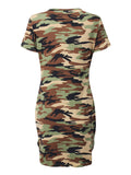 Women Camouflage Short Sleeve O Neck Irregular Hem Mini Dress