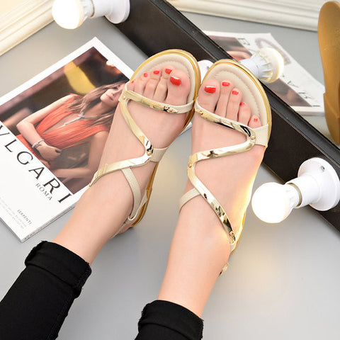 Bandage Strappy Peep Toe Shiny Flat Buckle Metal Color Sandals
