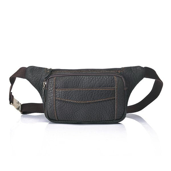 Men Genuine Leather Crossbody Bag Cowhide Leather Waist Pack Chest Pack