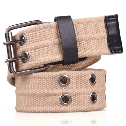 118CM Mens Canvas Double Needle Buckle Belt Casual Sports Durable Trousers Waistband