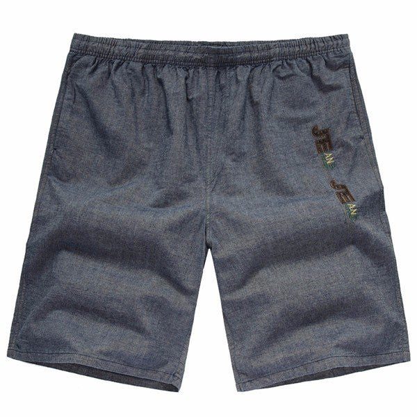 Summer Mens Large Size Linen Cropped Pants Casual Elastic Waist Shorts