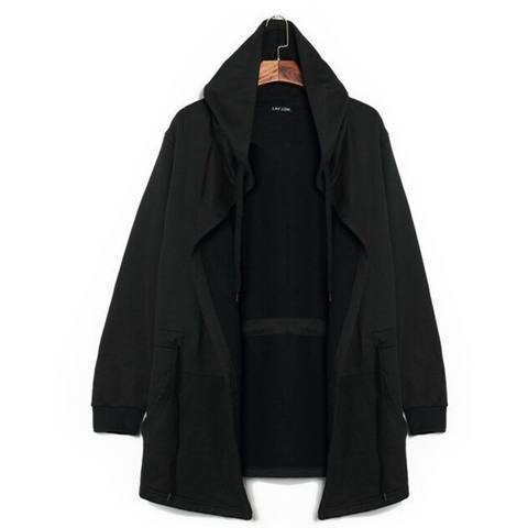 Men's Long Solid Hooded Cloaks Hip Hop Black Soul Cardigans