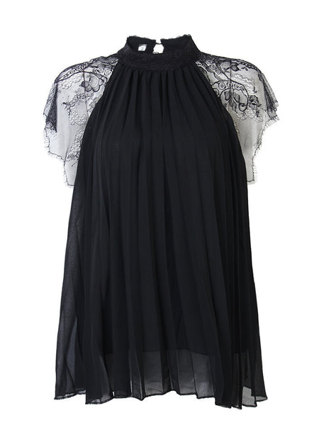 Lace Stitching Short Sleeve Chiffon Loose T-shirt For Women