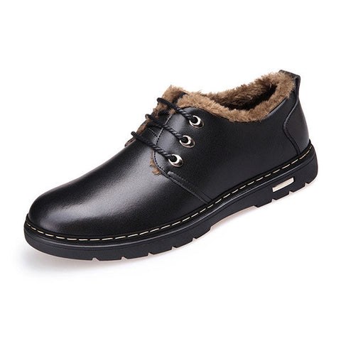 Men Leather British Style Warm Casual Lace Up Boots Oxford Shoes