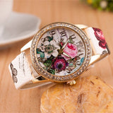 Bohemian PU Leather Rhinestone Flower Watch