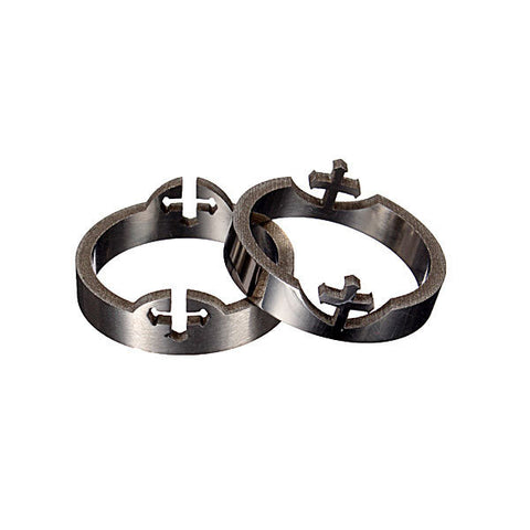 Couple Rings 2Parts Cross Silver 316L Stainless Steel Finger Ring