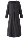 Vintage Women Long Sleeve Plate Buttons Pocket Pure Color Dress