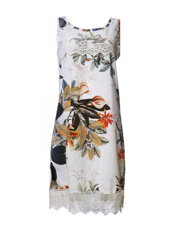 Lace Embellished Floral Sleeveless O-Neck Casual Dress