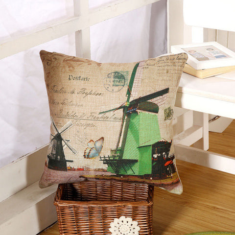Classic Windmill Cotton Linen Throw Pillow Case Car Office Sofa Waist Cushion Cover