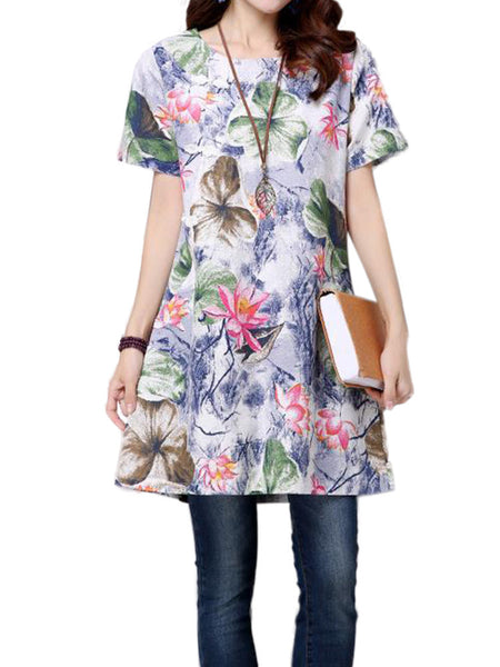Women Short Sleeve O Neck Floral Printed Vintage Dress Mini Dress