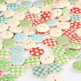 100pcs Wooden Mixed Pattern Sewing Buttons DIY Craft Purse Baby Clothes Decoration Sewing Button