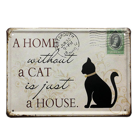 Black Cat Tin Sign Stamp Vintage Pub Wall Decor Thanksgiving Day Gift - shechoic.com
