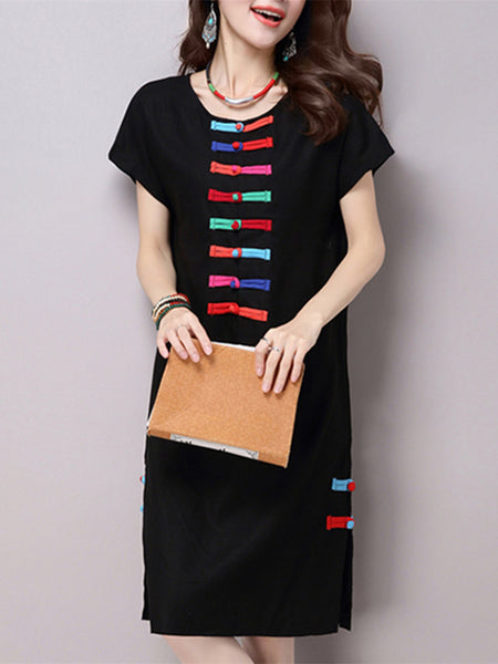 Women Ethnic Short Sleeve O Neck Colorized Button Vintage Dress