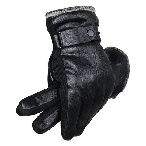 Artificial Leather Male Windproof Outdoor Sports Driving Gloves Thick Knitted Buckle Mittens - shechoic.com
