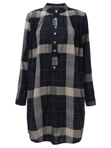 Women Long Sleeve Button Plaid Irregular Hem Straight Shirt Dress