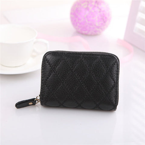 Women Men Genuine Leather Card Holder Check Pattern Wallet Bags