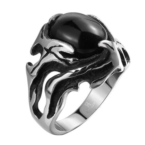 316L Stainless Steel Retro Punk Black Zircon Ring