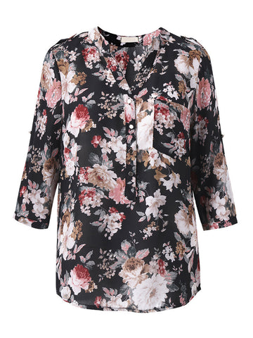 Casual Printing V Neck Half Sleeve Shirt For Women