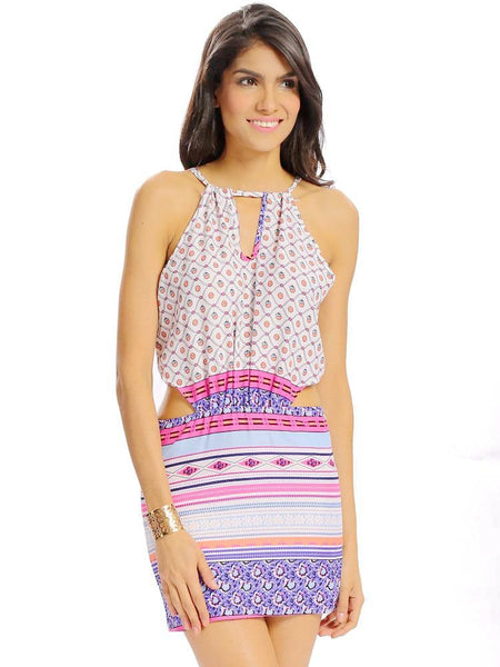 Women Sexy Bohemia Printing Halter Hollow Bandage Spaghetti Strap Mini Dress