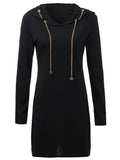 Sexy Women Metallic Chain Long Sleeve Solid Hooded Bodycon Dress