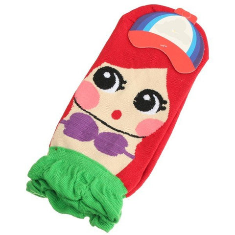 Korean Women Retro Vintage Cute Cartoon Mermaid Princess Cotton Ankle Socks