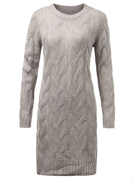 Slim Women Jacquard Knee-Length Gray Long Sleeve Thick Split Knit Dress