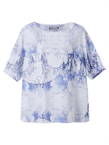 Women Short Sleeve O Neck Blue And White Porcelain Printed Casuan Shirt
