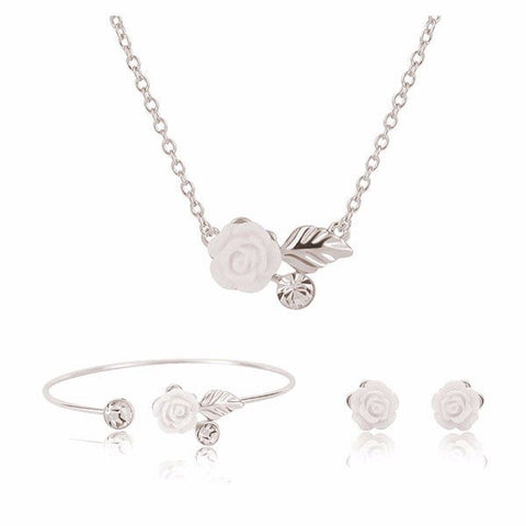 Alloy Resin White Rose Flower Wedding Necklace Earrings Jewelry Set