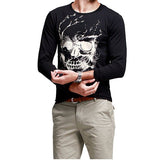 Men's Fall Cool Unique Skull Printing Black O-neck Long Sleeve T-shirt