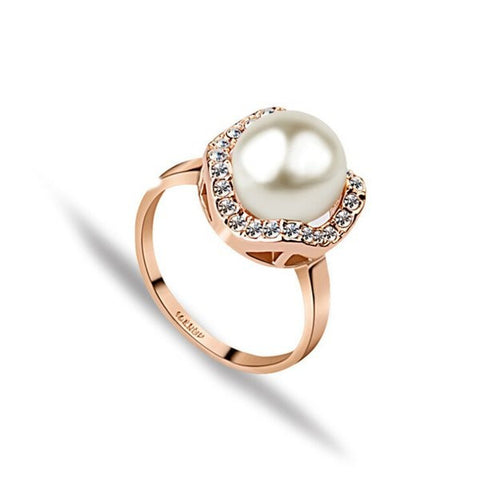 18K Rose Gold Plated Crystal Flower Imitation Pearl Zircon Finger Ring