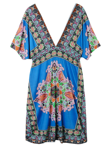 Bohemian Women Sexy Deep V Drawstring Printed Beach Sundress - shechoic.com