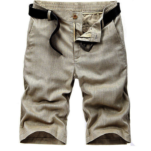 Outdoor Casual Solid Color Linen Pants Straight Slim Fit Plus Size Shorts For Men