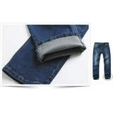 Mens Elastic Casual Loose Fit Straight Mid-Rise Denim Jeans
