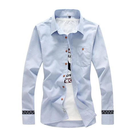 Casual Fashion Solid Color Slim Fit Plus Size Long Sleeve Dress Shirts For Men