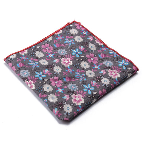 24x24CM Floral Cotton Pocket Square Handkerchief Wedding Hanky Suit Accessories - shechoic.com