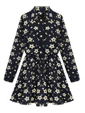 Women Slim Floral Print Single Breasted Long Sleeve Lapel Pleated Mini Dress