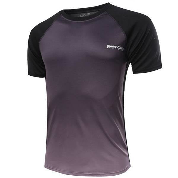 Mens Breathable Quick-drying Gradient Color Sports Fitness Short Sleeved Tshirts