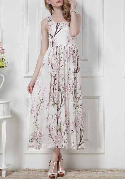 White Flowers Pleated Chiffon Square Neck Sleeveless Maxi Dress