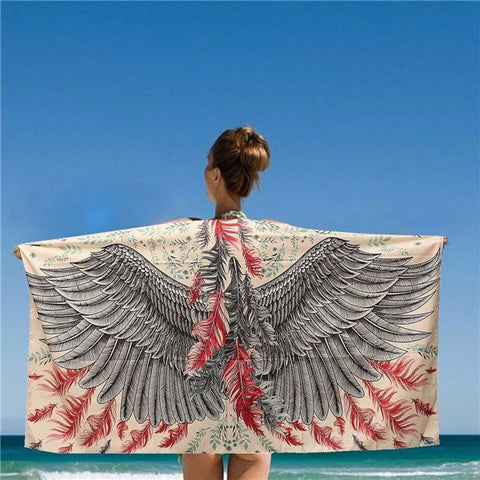 150*80CM Women Beach Shawls Grey And Red Eagle Phoenix Wings Printed Scarves Mats - shechoic.com